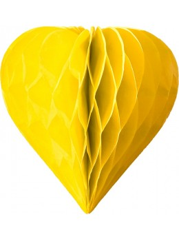 3 mini coeur papier alvéolés 8cm jaune