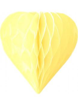 3 mini coeur papier alvéolés 8cm jaune pâle