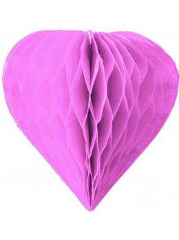 3 mini coeur papier alvéolés 8cm mauve
