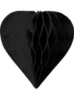 3 mini coeur papier alvéolés 8cm Noir