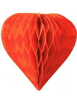 3 mini coeur papier alvéolés 8cm Orange