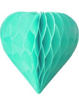 3 mini coeur papier alvéolés 8cm Vert pâle