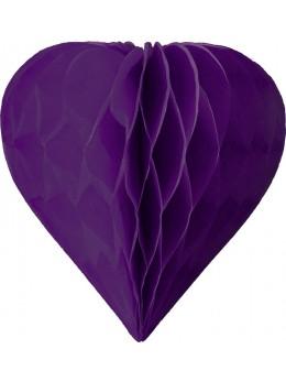 3 mini coeur papier alvéolés 8cm Violet