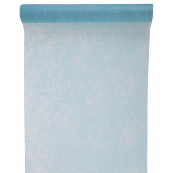Chemin de table intissé luxe bleu pastel 10m