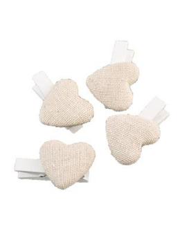 6 pinces cœurs lin 2.6cm