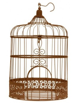 Tirelire cage rose rouille 31cm