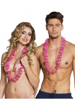 Set de 25 colliers hawaiiens Eléna rose