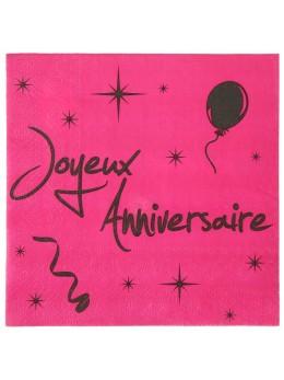 20 Serviettes Joyeux anniversaire fuchsia