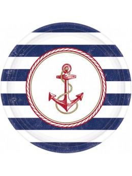 8 Assiettes carton thème marin