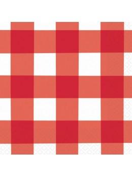 16 Serviettes pique nique rouge et blanche