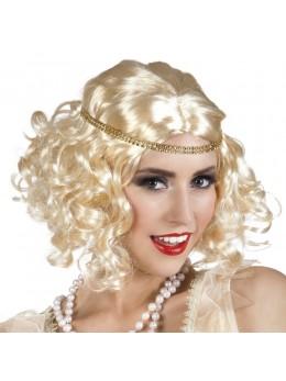 Perruque flapper blonde avec bandeau