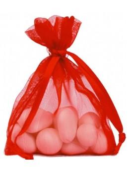 10 Sachets organdi rouge