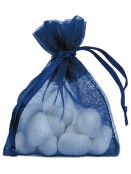10 Sachets organdi bleu marine