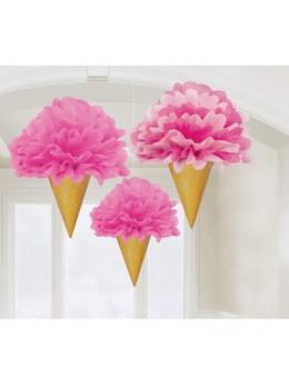 3 fleurs de soie cornet de glace