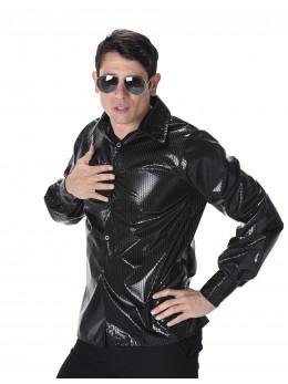 chemise disco noire à sequins