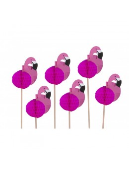 12 flamants rose sur pic 20cm