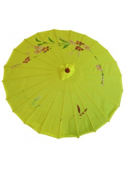Ombrelle chinoise en tissu jaune