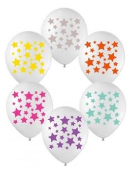 6 ballons transparent étoiles couleurs 30cm