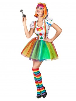 Déguisement clown multicolore fille