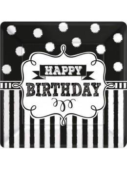 8 Assiettes anniversaires Happy birthday