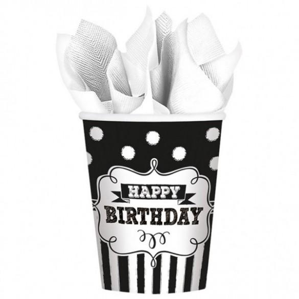 8 Gobelets Happy birthday noir