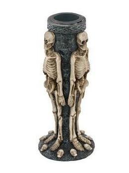 Bougeoir squelette résine 13cm