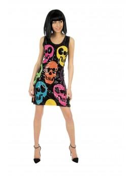 Déguisement robe sequins skull