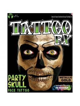 Tatouage facial squelette effet métallique