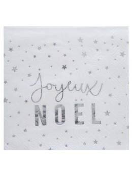 20 serviettes Joyeux Noël argent