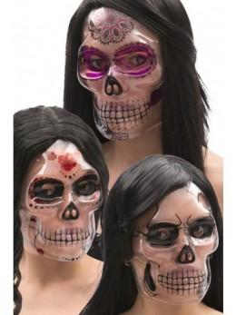 Masque plastique transparent dia de los muertos