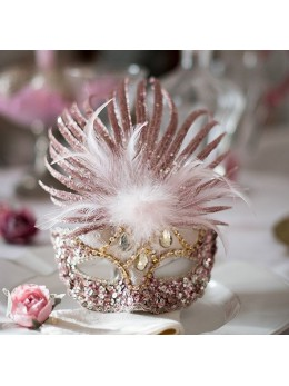 Masque loup marquise paillettes rose