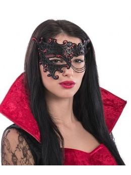 Masque loup rouge et noir