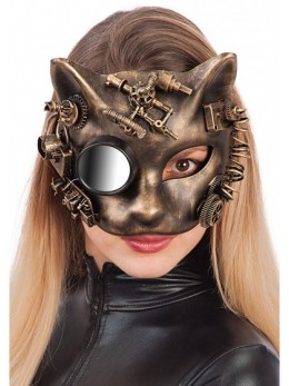 Masque latex chat steampunk
