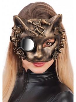 Masque latex chat steampunk