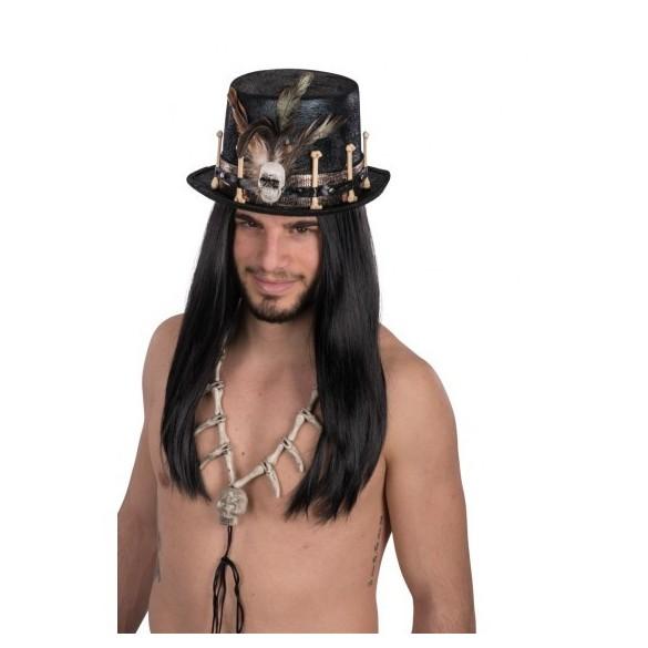 Chapeau haut de forme adulte sorcier vaudou avec plumes rouges