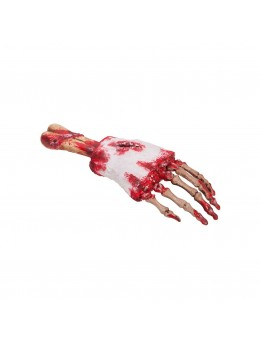 Déco main de squelette ensanglantée