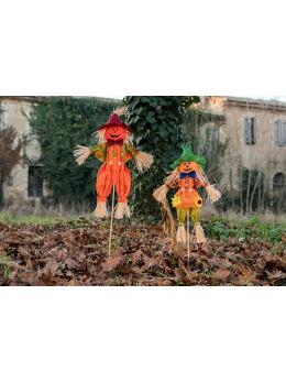 Déco citrouille Halloween sur tige