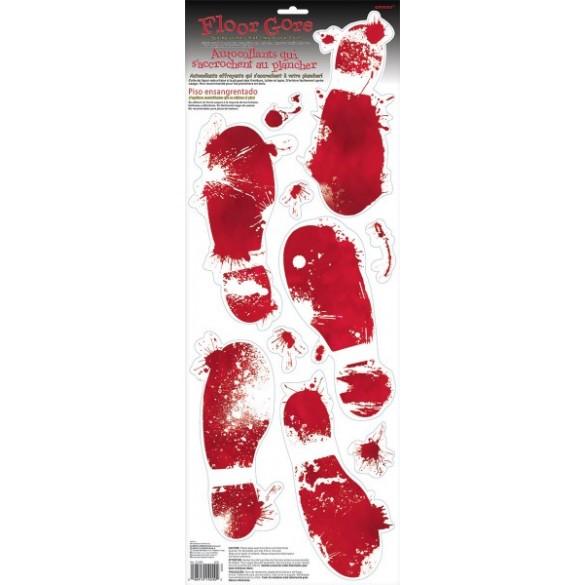 Plaque empreintes sanglantes traces de pas