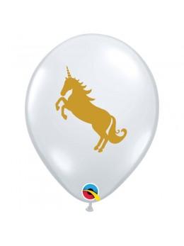10 Ballons transparent licorne or 0cm