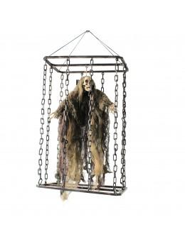 Décoration animée zombie en cage