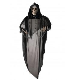 Déco squelette noir yeux lumineux 70cm