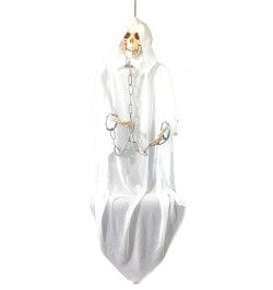 Déco squelette blanc yeux lumineux 150cm