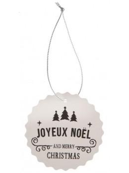 4 marques places Joyeux Noël blanc