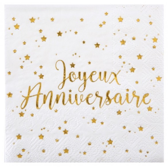 Serviettes Joyeux Anniversaire Metallise Decoration De Table Fete En