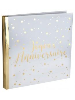 Livre d'or anniversaire blanc et or