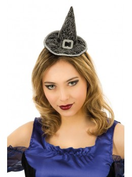 Serre tête mini chapeau sorcière noir