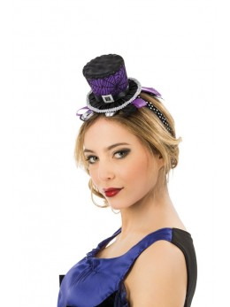 Serre tête mini chapeau violet