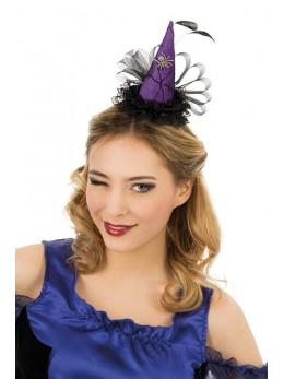 Serre tête mini chapeau sorcière plume violet