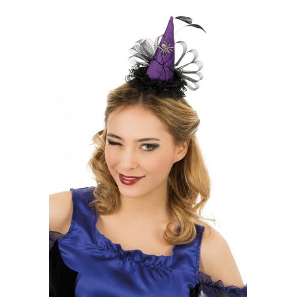 Serre tête mini chapeau sorcière plume violet a50f24d8558d