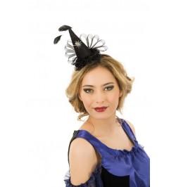 Serre tête mini chapeau sorcière plume noir